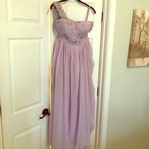 Dresses & Skirts - One shoulder Lavender embellished gown